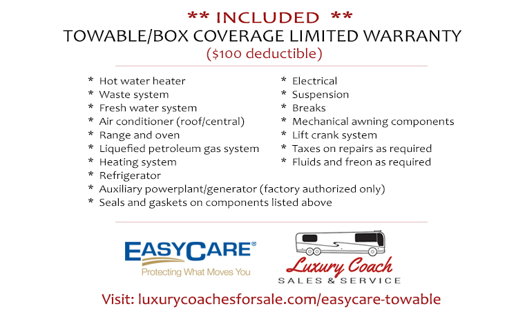 Luxury Coach Sales & Service offering EasyCare RV protection