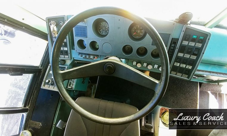 View of the Steering Wheel of 1985 MCI 96-A3 at Luxury Coach