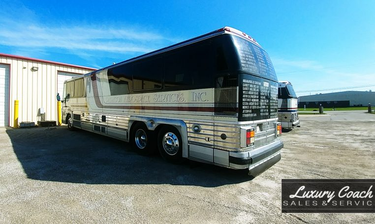 View of Rear Driver side of 1985 MCI 96-A3 at Luxury Coach