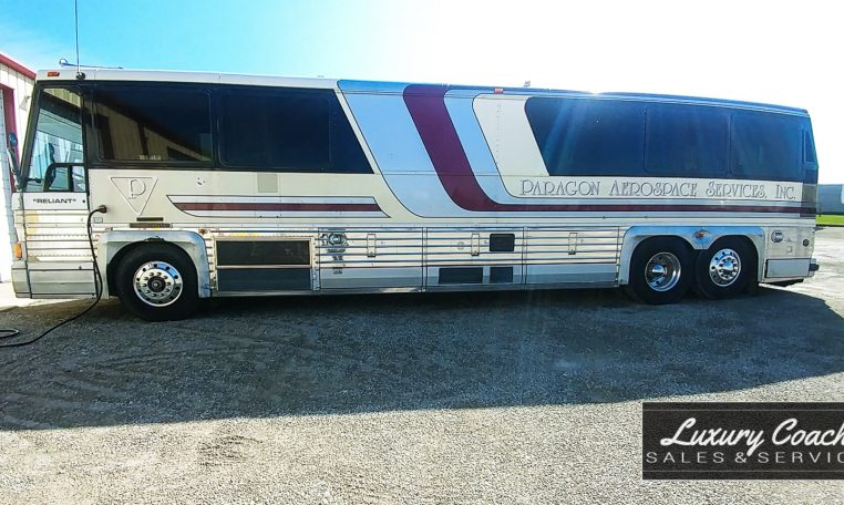View of Driver side of 1985 MCI 96-A3 at Luxury Coach