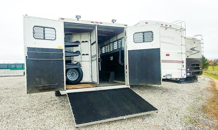 View of the Ramp in a 1999 Sundowner Horse Trailer at Luxury Coach
