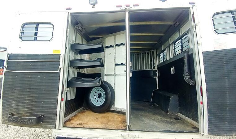 View of the Rear in a 1999 Sundowner Horse Trailer at Luxury Coach